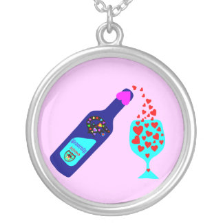 §♥Romantic Wine Toast Sterling Silver Necklace♥§ Silver Plated Necklace