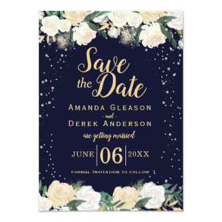 Romantic Winter Photo Save the Date Card