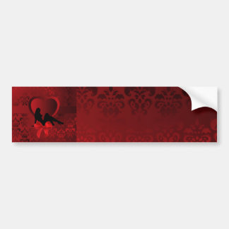 Romantic woman on red damask bumper sticker