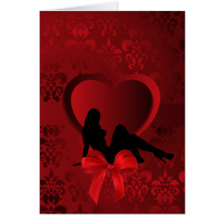 Romantic woman on red damask card