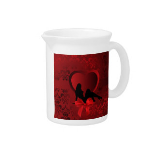 Romantic woman on red damask pitcher