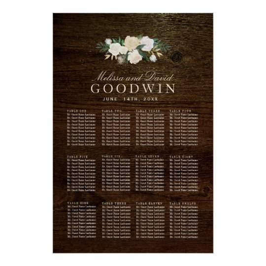 Romantic Woodland Rustic Seating Plan Poster