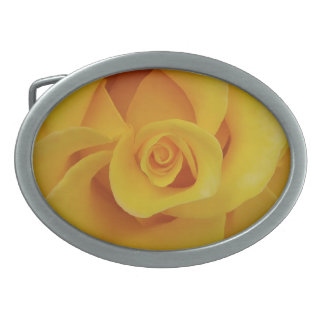Romantic Yellow Rose Petals Oval Belt Buckle