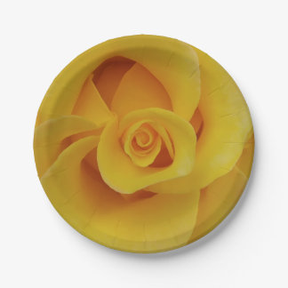 Romantic Yellow Rose Petals Paper Plate