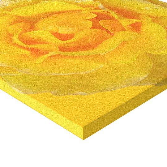 Romantic Yellow Rose Water Drops Canvas Print