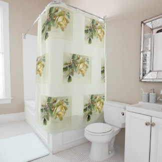 Romantic Yellow Vintage Roses Shower Curtain