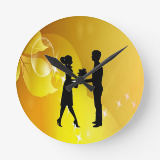 romantic young love round clock