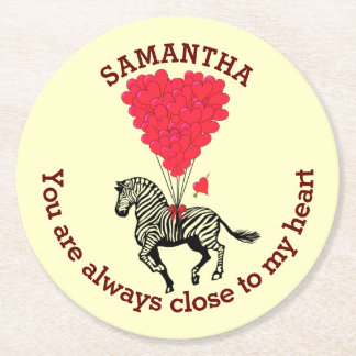 Romantic zebra and red heart personalized round paper coaster