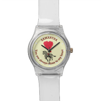 Romantic zebra and red heart personalized watch