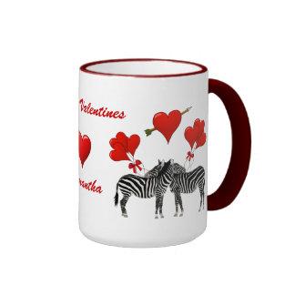 Romantic zebra love heart Valentines Ringer Mug