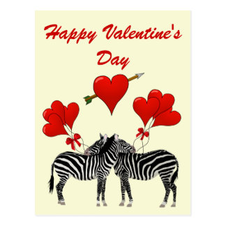 Romantic zebras and hearts Valentines Postcard