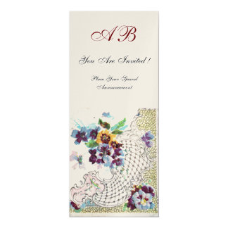 ROMANTICA  2 MONOGRAM , Antique Gold Metallic 10 Cm X 24 Cm Invitation Card