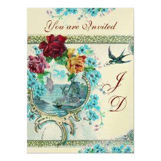 ROMANTİCA 3 ELEGANT WHITE BLUE WEDDING MONOGRAM 14 CM X 19 CM INVITATION CARD