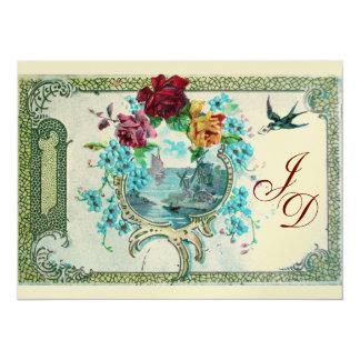ROMANTİCA 3 MONOGRAM gold metallic paper 2 14 Cm X 19 Cm Invitation Card