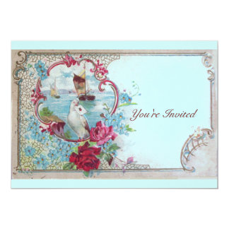 ROMANTICA,Elegant Classy Wedding Party, pink blue 13 Cm X 18 Cm Invitation Card