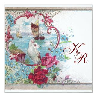ROMANTİCA ELEGANT FLORAL WEDDING  MONOGRAM 13 CM X 13 CM SQUARE INVITATION CARD