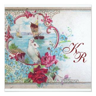 ROMANTİCA/WHITE DOVE,ROSES FLORAL WEDDING MONOGRAM 13 CM X 13 CM SQUARE INVITATION CARD
