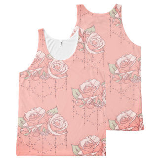 Romantically Pink ~ A Rose Floral Pattern Gift All-Over Print Tank Top
