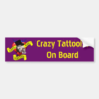 Romatic skull and heart tattoo design bumper sticker
