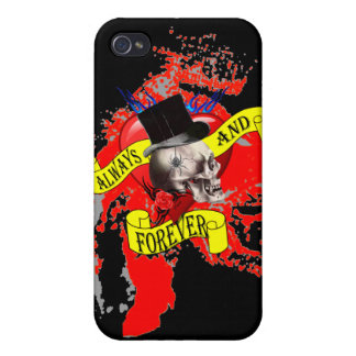 Romatic skull and heart tattoo design case for iPhone 4