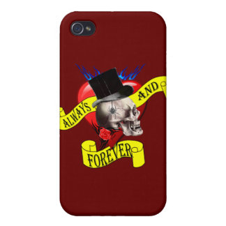 Romatic skull and heart tattoo design iPhone 4/4S case