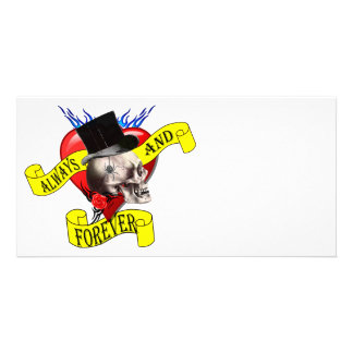 Romatic skull and heart tattoo design personalized photo card