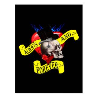 Romatic skull and heart tattoo design postcards