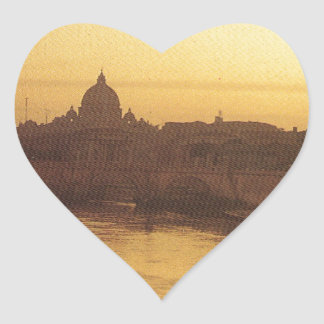 Rome at sunset, River Tiber and St Peter's Heart Sticker