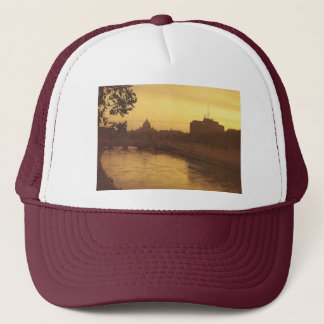 Rome at sunset, River Tiber and St Peter's Trucker Hat