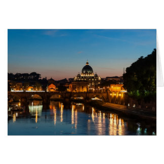 Rome by night, with St Peters. Greeting Card