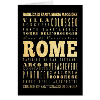 Rome City of Italy Typography Art Card