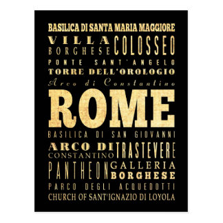 Rome City of Italy Typography Art Post Cards