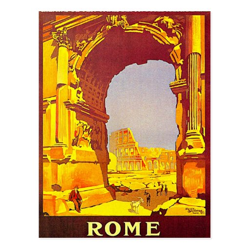 Rome Express Railway Vintage Italy Travel Postcards