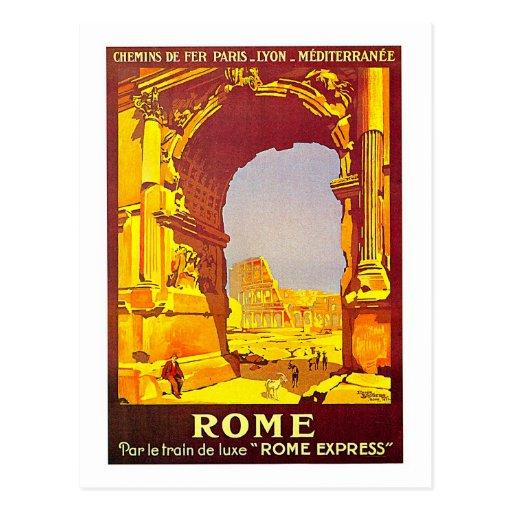 Rome Express Railway Vintage Italy Travel Postcards