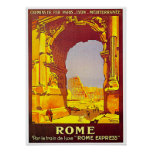 Rome Express Railway Vintage Italy Travel Posters