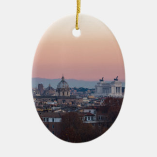 Rome from Gianicolo panorama at sunset Ceramic Oval Decoration