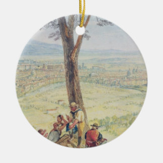 Rome from Monte Mario, c.1818 (w/c over pencil on Christmas Ornament