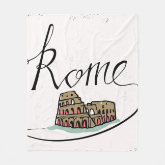 Rome Hand Lettered Design Fleece Blanket