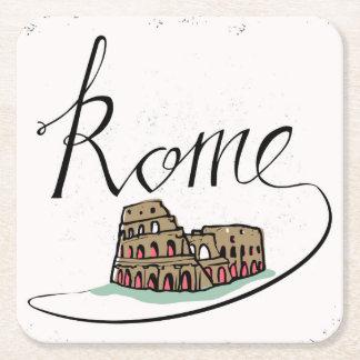 Rome Hand Lettered Design Square Paper Coaster