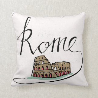 Rome Hand Lettered Design Throw Pillow