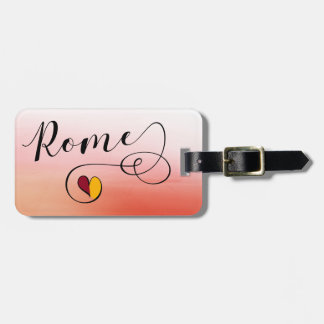 Rome Heart Luggage Tag Template, Italy