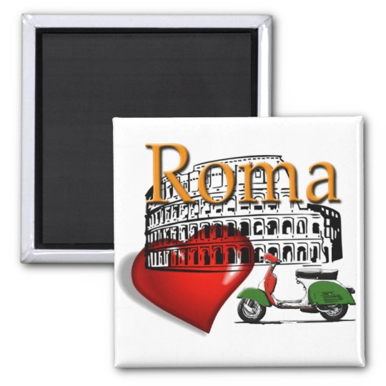 Rome in my Heart Square Magnet