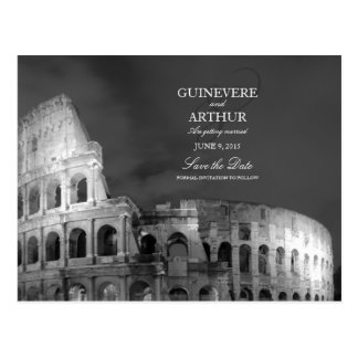 Rome Italy Colosseum Wedding Save the Date Postcard