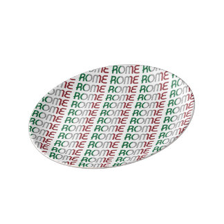 Rome Italy Italian Flag Colors Typography Pattern Plate