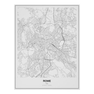 Rome, Italy, Minimalist Map Poster (Style 2)