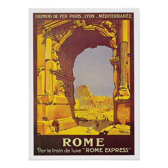 "Rome, Italy ""Rome Express"" Vintage Travel Poster"