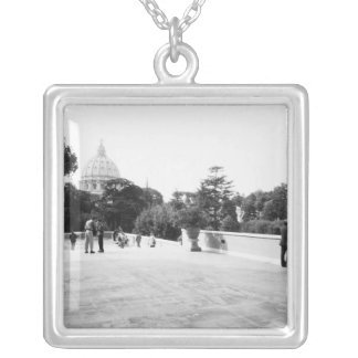 Rome Italy, The Vatican Gardens Silver Plated Necklace