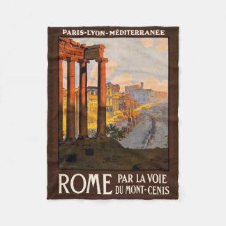 Rome Italy vintage travel fleece blanket
