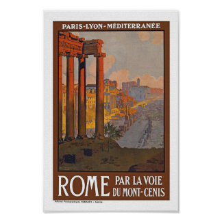 Rome Italy Vintage Travel Poster