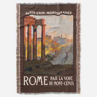 Rome Italy vintage travel throw blanket